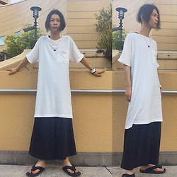 @KiD - Yoko Sakamoto Very Long Tee, Monochrome Wide Pants, Jojo Japanese Sandal, Toga Magical Triangle, Funk Plus White Bracelet - Japanese Trash151