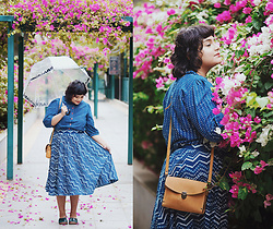 Ragini R - Handmade Indigo Co Ord, Unique Vintage Clear Dome Umbrella, Etsy Crossbody Buckle Satchel, Etsy Leather Clog Sandals - Indigo Rain
