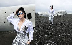 Aleksandra L. - Zaful Shirt, Mango Pants, Izipizi Sunnglasses, Zaful Bra - SPACE MOOD ( METALLIC)