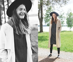 Frida Sjöberg - Monki Hat, Monki Sweater Dress, Monki Trenchcoat, Cheap Monday Jeans, Vans Sneakers - Midsummer Beige