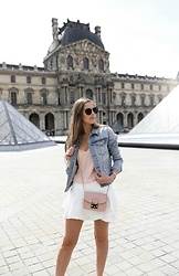 Maria B - Kapten & Son Maui Sunglasses, H&M Denim Jacket, Zara Camisole Top, Zara Ruffled Skort, Furla Metropolis Bag - Spring in Paris
