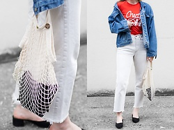 Jenaly Enns - Clavin Klein Vintage Denim Jacket, Ganni Cherry Bomb Linfield Tee, Levi's® Vintage Levi's Jeans, Clare Vivier Netty Bag, Forever 21 Round Toe Suede Mules - Ch-Ch-Ch-Ch-Cherry Bomb