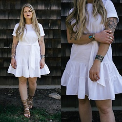 Britnie Harlow - Asos White Ruffle Dress, Bedstu Strapped Sandals, Vintage Jewelry - Bright white.