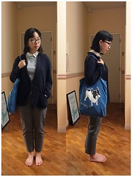 Christa U. - Plains And Prints Collared Sleeveless, Navy Blue, Uniqlo Office Grey, I Love Dogs - Standing Still