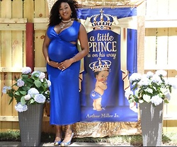Eshay Francois -  - Royal Blue Side Cut Out Maternity Dress