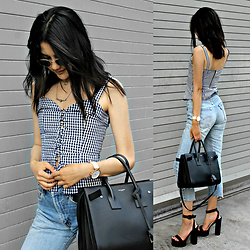 Florencia R - Shein Gingham Top, Saint Laurent Staple Bag, Levi's® Vintage Jeans, Public School Platform Heels, Hexagon Sunglasses - Gingham