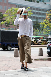 INWON LEE - Byther Double Tuck Wide Slacks, Byther Scarf Detail Leather Loafer, Byther Basic See Through T Shirts - Comfy Loose & Wide Style