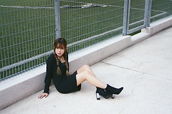 Baoer Tang - Monki Black Dress, Zalora Black Boots - Black is my happy color