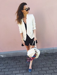 Kate Kamsa - Mango White Blazer, Mom Made My Bag, A Rock On Lens Jewel Sunglasses, Zapping Black Flare Skirt - No love in a jungle