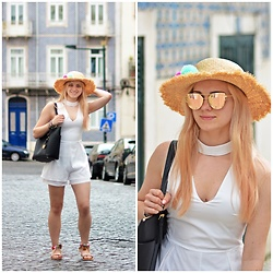 Natalia Piatczyc - Twinkledeals Fashionable Stand Collar Cut Out Solid Color Romper, Stylish Pompon Weaving Rope Straw Hat Light Green, Pompon Ankle Strap Tassels Sandals, Michael Kors Black Bag, Metal Bar Embellished Cat Eye Sunglasses - Summer look