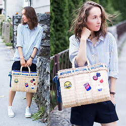 Iva K - Bozur Straw Bag, Zara Shorts - Straw bag and smiley face