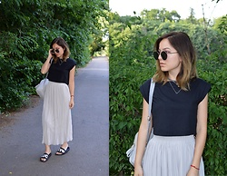 Marija M. - Terranova Black Crop Top, Grey Pleated Skirt - Grey pleated skirt