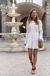 Stephanie Van Klev - Chicwish Dress, Kokokarma Ate Bag, Isabel Marant Sandals - White Lace Dress & Round Bali Bag