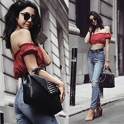 Florencia R - Forever 21 Off Shoulder Top, Faithful Jeans Vintage, River Island Suede Boots, Saint Laurent Staple Bag - Rojo
