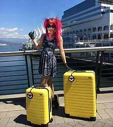 La Carmina - LaCarmina.com - Away Luggage Yellow Minions Suitcase, We Love Colors Black Fishnet Tights, Blackmilk Pentagram Dress - Cute Minions yellow luggage by Away, Despicable Me suitcase!