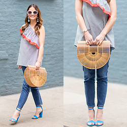 Jenn Lake - Cult Gaia Large Ark, Vince Camuto One Shoulder Ruffle Top, Sam Edelman Yaro Sandals, Ag Jeans The Stilt Cropped Denim, Kate Spade Krystalyn Sunglasses, Baublebar Crispin Drop Earrings - Cult Gaia Large Ark