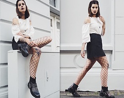 Nina Wirths - Asos Shirt, Asos Skirt, Asos Boots, Asos Tights, Topshop Necklace, Forever 21 Necklace - Girls night out