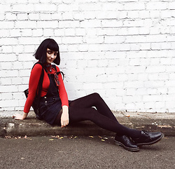 Amelia Goldie - Twiin Red Ribbed Top, Boohoo Overalls, Dr Martens Shoes - Sweet Cherry.