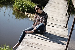 Ewa Macherowska - Second Hand Blouse, Stradivarius Jeans, C&A Sunglasses, Zaful Earrings - July