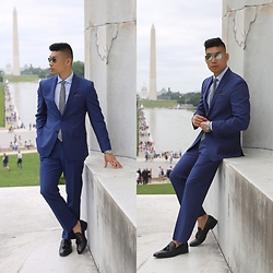 Leo Chan - Tallia Orange Navy Stripe Suit - July 4th Suit