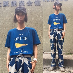 @KiD - (K)Ollaps New Wave, New Order Tee, Vivienne Westwood Star Pants, Maison Martin Margiela German Trainer, Funk Plus White Bracelet - Japanese Trash158