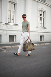 Georg Mallner - Zara Tshirt, H&M Pants, Birkenstock, Barneys Bag - July 07, 2017