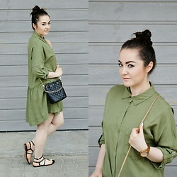 Sispolitan Lach - Zara Dress, Fossil Watch, Zaful Bag, Mango Sandals - Khaki Dress