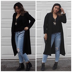 Valerie Mak - Dynamite Maxi Blazer, Dynamite Cara Boyfriend Jeans, Forever 21 Dinosaur Tooth Necklace, Call It Spring Heisen Boots, Dynamite Zipper Tank - It's Toothy
