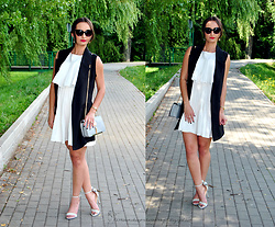 Natalia Uliasz - Mohito Sunglasses, Gamiss White Dress, Dressin Vest, Rosegal Crossbody Bag, Deez24.Pl Gray Sandals - Classic minimalism