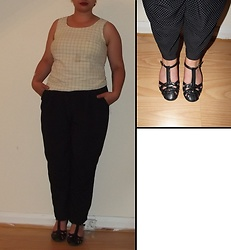 Selina M - Swapped Checked Top, Monki Polka Dot Trousers, Clarks T Bar Sandals - Static in the airway