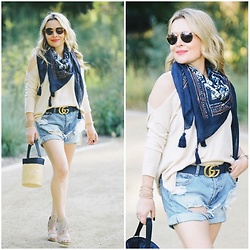 Zia Domic - One Teaspoon Denim Shorts, California Moonrise Tasseled Scarf - Tassels & Cutouts