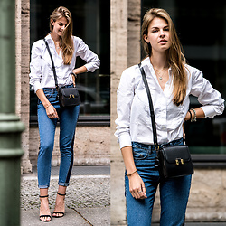 Jacky - Marks & Spencer Shirt, Zara High Heels - Two-Toned Denim and White Shirt