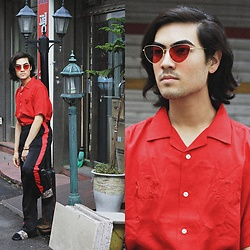 Kevin Kinno - Vintage Red Cat Eyes Sunglasses, Wego Red Tiger Shirt, Side Striped Pants, Gu Fake Snake Skin Sandals - FLAMES