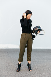 Shann V - Forcast Antonia Tie Neck Knit, Forcast Ariana Buckle, Boohoo Ankle, Dylan Kain Rodriguez - Low Key Khaki Office Wear