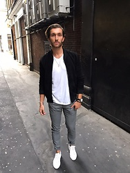 Henry & William Wade - Topman All Black Suede Bomber, Zara Stretch Skinny Dotted Suit Trousers, H&M Plain White V Neck Tee, Blaq All White Trainers, Guess Black Leather Strap Watch, Thomas Sabo Bracelet - Street Smart
