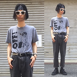 @KiD - Off! Raymond Pettibon Tee, Cheap Monday Striped Denim Pants, Suicidal Tendencies Bandanna, Nike × Comme Des Gargons, Funk Plus Studs Bracelet, Funk Plus Studs Belt - Japanese Trash162