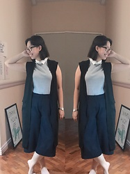 Christa U. - Uniqlo Blue Gauchos, Plains And Prints Grey Collared Top, Black Oversized Longline Vest - Dressed Down yet still To Impress