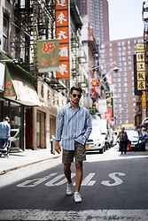 Kevin Elezaj - Adidas Sneakers, A.P.C. Shorts, Samsøe & Shirt, Ray Ban Shades - Welcome to NYC