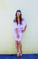 Eliza Romero - Lulu*S White Off The Shoulder Minidress, Prada Gold Metallic Wedges, Quay Sunglasses, Asos Gold Hoop Earrings, Free People Blue Multicolor Turban - Here Comes The Sun