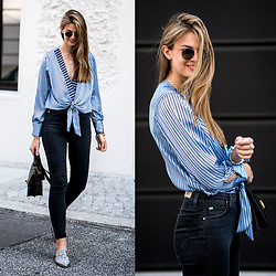 Jacky - Zara Body, Lee Jeans, Ray Ban Sunglasses - Striped Body with low neckline
