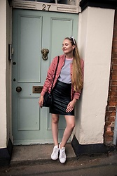 Monika C. - Topshop Top, Reward Style Glasses, Adidas Sneakers, Ivyrevel Bomber - Touch of pink