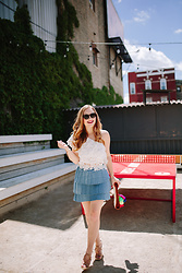 Ashley Hutchinson - Alice And Wonder One Shoulder White Lace Crop Top, Alice And Wonder Denim Pleated Mini Skirt, Aquazzura Lace Up Wedges - White & Blue Summer Style