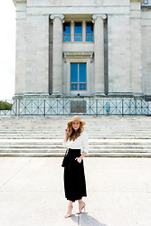 Ashley Hutchinson - Milly Black Culottes, Target Nudist Sandals, H&M Classic Black Shoulder Bag, Finders Keepers The Label White Cowl Neck Blouse, Forever 21 Boater Hat - Vinatge-Inspired Summer Style