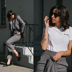 Randa Salloum - Brunette The Label White Tshirt, Zara Blazer, Zara Trousers, Jeffrey Campbell Shoes Loafers - Suited Up