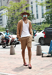 INWON LEE - Byther Summer See Through Open Cardigan, Byther Classic Knit Shorts, Byther Buckle Leather Bloafer - Summer Urban Outfit