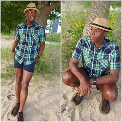 Thomas G - J. Crew Button Down Plaid Shirt, J. Crew Classic Twill Chino Weathered & Broken In, Skechers On The Go, David And Young Stingy Brim Fedora, The Galactic Empire (Blog) - Casual summer ideas