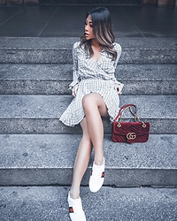 Joanna Aoran - Gucci Gg Marmont Velvet, Revolve Charleston Dress, Gucci Guccisima Leather Shoes - Sneakers Game Strong