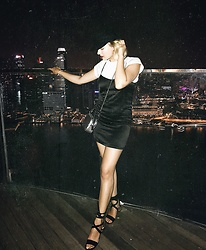 Dominique Malinowska - Black Slip Dress, Heeled Sandals, Next Silver Clutch, Asos T Shirt, Topshop Baker Boy Hat - Singapore