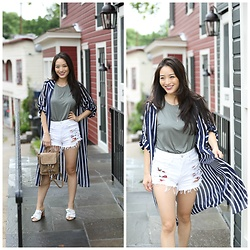Kimberly Kong - Forever 21 Tank, Blank Nyc Floral Shorts, Violet Ray Backpack - Remix:  The Striped Long Shirt
