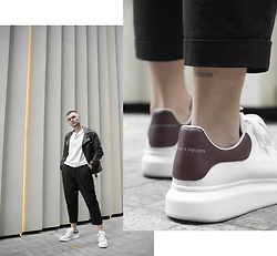 Gerard Molón - Black Eye Rags High Rise Drop Crotch Trousers, Alexander Mcqueen Sneakers - ALEXANDER